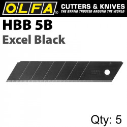 OLFA BLADES EXCEL BLACK 5PK ULTRA SHARP FOR H1; NH1; XH1 CUTTERS 25MM