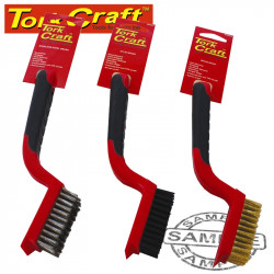 SOFT GRIP WIDE BRUSH SET BRASS STAINLESS NYLON IN BLISTER TCW