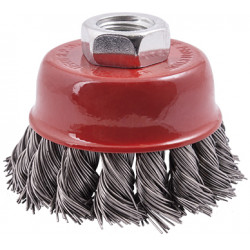 WIRE CUP BRUSH 65 X M14 KNOTTED STAINLESS STEEL TCW