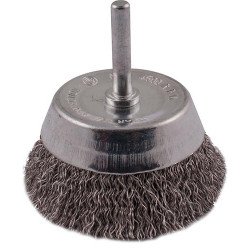 WIRE CUP BRUSH 63MM 6MM SHAFT STAINLESS STEEL